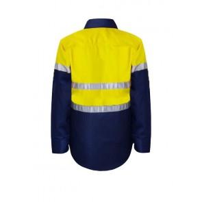 Work Craft Kids Hi Vis Lightweight Two Tone Long Sleeve Cotton Drill Shirt with CSR Reflective Tape