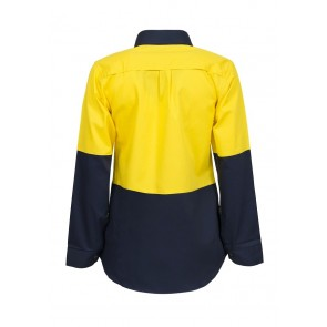 Work Craft Ladies Lightweight Hi Vis Two Tone Long Sleeve Vented Cotton Drill Shirt