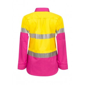 Work Craft Ladies Lightweight Hi Vis Two Tone Long Sleeve Vented Cotton Drill Shirt with CSR Reflective Tape
