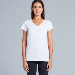 AS Colour Ladies Bevel V Neck Tee - White model