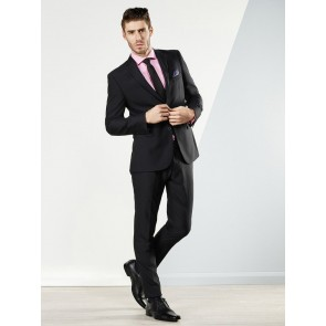 Aston Colton Men's Pure Wool Suit - Black