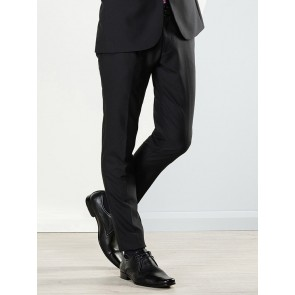 Aston Colton Men's Pure Wool Trousers Black