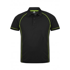 Aussie Pacific Mens Endeavour Polo Shirt - Black Furo Green