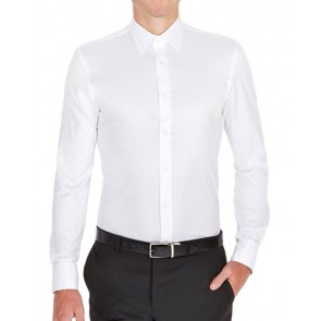 Brooksfield Mens Luxe Slim Fit French Cuff Business Shirt - White