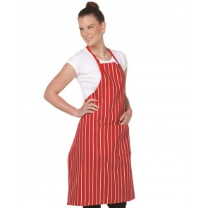 Apron BIB with Pockets Striped Red/White Model