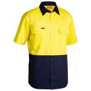 Bisley 2 Tone Cool Lightweight Drill Shirt - Short Sleeve Yellow Navy Front