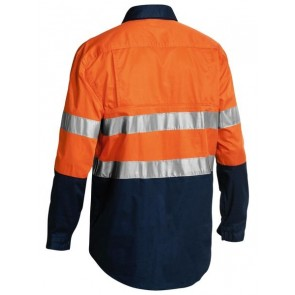 Bisley 2 Tone Cool Lightweight Closed Front Shirt 3M Reflective Tape Long Sleeve
