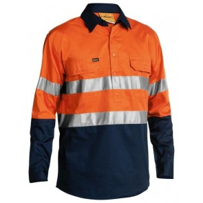 Bisley 2 Tone Cool Lightweight Closed Front Shirt 3M Reflective Tape Long Sleeve - Orange Navy Front