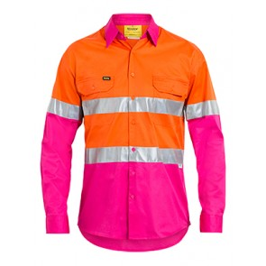 Bisley Men's Hi Vis 3 M Tape Light Weight Long Sleeve Shirt - Orange Pink