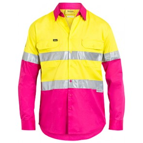 Bisley Men's Hi Vis 3 M Tape Light Weight Long Sleeve Shirt