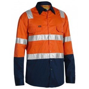 Bisley 3M Taped Cool Light Weight Shirt with Shoulder Tape - Orange Navy Front