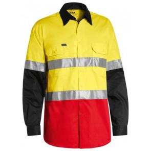 Bisley 3M Taped Cool Light Weight Three Tone Long Sleeve Shirt  - Front