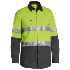 Bisley 3M Taped Hi Vis X Airflow Ripstop Shirt - Lime Charcoal Front