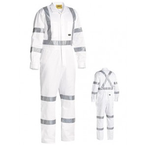 Bisley 3M Taped White Drill Coverall