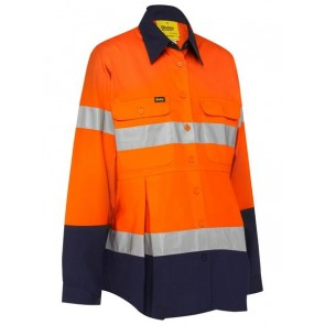 Bisley 3M Taped Maternity Drill Shirt - Orange Navy Front