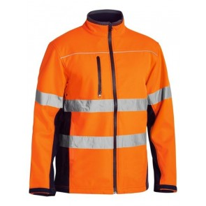 Bisley Hi Vis Soft Shell Jacket with Reflective Tape - Orange Navy Front