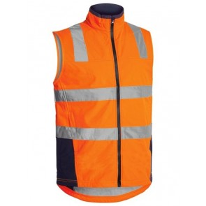 Bisley Hi Vis Soft Shell Vest with Reflective Tape - Orange Navy Front