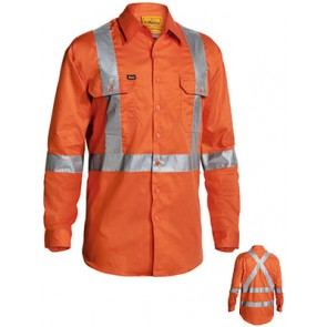 Bisley Mens 3M Taped Hi Vis L/Sleeve Drill Shirt