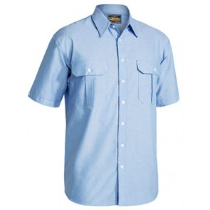 Bisley Oxford Shirt - Short Sleeve - Blue