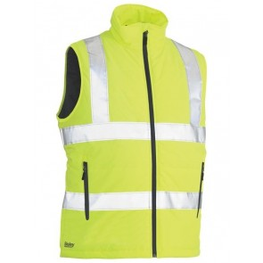 Bisley Hi Vis Taped Reversible Puffer Vest - Yellow Front