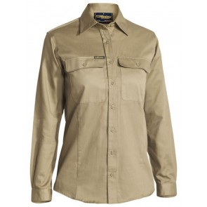 Bisley Women's Long Sleeve Drill Shirt - Khaki Front