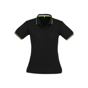 Biz Collection Ladies Jet Polo - Black Bright Green