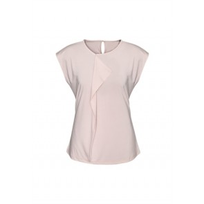 Biz Collection Ladies Mia Pleat Knit Top - Blush Pink Front