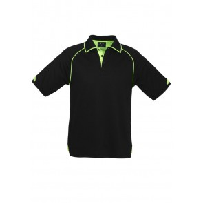 Biz Collection Fusion Polo - Black/Fluoro Lime