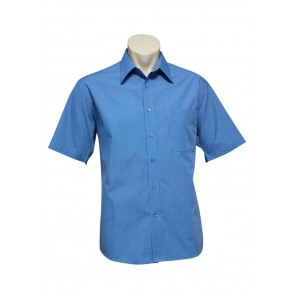 Biz Collection Mens Micro Check Short Sleeve Shirt