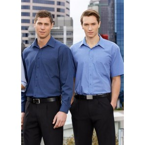 Biz Collection Mens Micro Check Short Sleeve Shirt - Models