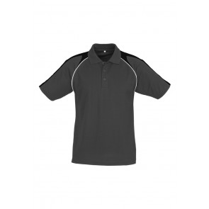 Biz Collection Mens Triton Polo - Ash Black White Front