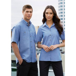 Biz Collection Mens Wrinkle Free Chambray Short Sleeve Shirt