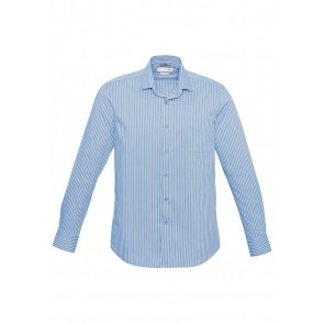 Biz Collection Mens Zurich Long Sleeve Shirt - Ice Blue White