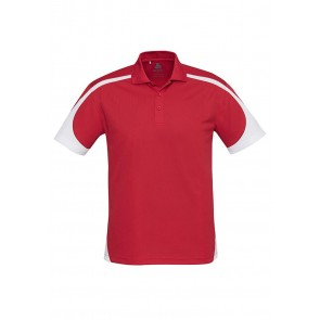 Biz Collection Mens Talon Polo - Red White