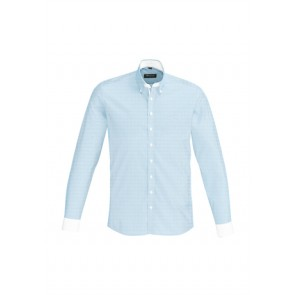 Biz Corporate Fifth Avenue Mens Long Sleeve Shirt Alaskan Blue Front