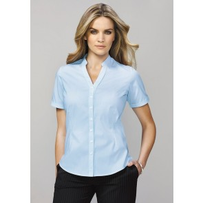 Biz Corporates Ladies Bordeaux Short Sleeve Shirt - Model