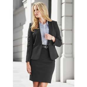 Biz Corporates Ladies Single Button Collarless Jacket Model