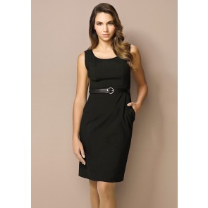 "Biz Corporates Ladies Sleeveless Side Zip Dress ""Wool Stretch"" Model"