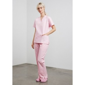 Bizcare Ladies Classic Scrubs Bootleg Pant - Baby Pink Model Front