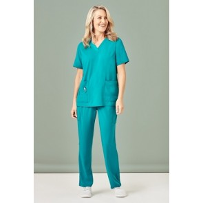 Bizcare Womens Easy Fit V-Neck Scrub Top - Teal Model Front