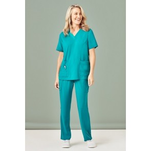 Bizcare Womens Straight Leg Scrub Pant - Teal Model Front