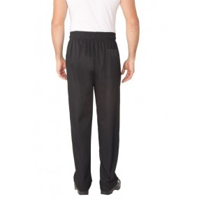 Chef Works Black Baggy Chef Pants w/ Zipper Fly