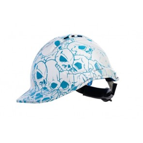 Hydro Dipped Designer Hard Hat - Blue Skull