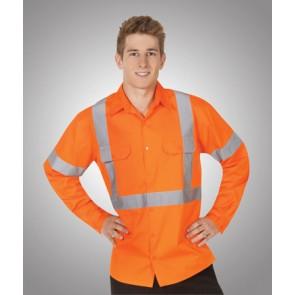 Hi Vis Budget Cotton Twill Shirt L/Sleeve Vented Day Night - Model