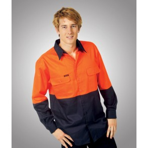 Blue Whale Hi Vis Cotton Drill Work Shirt - Model