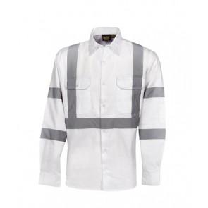 Budget HV DN LS X Back White Cotton Drill Shirt
