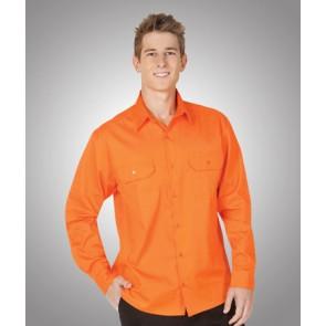 Budget HV LS Orange Cotton Twill Shirt 155gsm