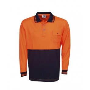 Budget HV Long Sleeve Polo - Fluoro Orange Navy