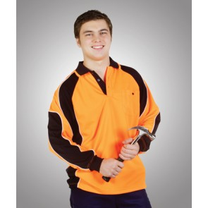 Budget HV CoolDry Side Panel Long Sleeve Polo Shirt - Model