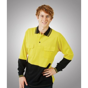 Budget HV Cotton Long Sleeve Polo Shirt - Model